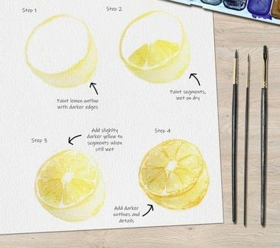 Lemon Watercolor Tutorial .  Free tutorial with pictures on how to paint a piece of watercolor art in under 30 minutes by creating with watercolor, watercolour brush, and watercolor paper. Inspired by lemon and fruity. How To posted by Ladybug Watercolour.  in the Art section Difficulty: 3/5. Cost: Cheap. Steps: 4
