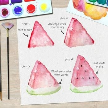 Watercolor Melon Tutorial .  Free tutorial with pictures on how to paint a piece of watercolor art in under 30 minutes by creating with watercolor paper, watercolor, and watercolour brush. Inspired by melon. How To posted by Ladybug Watercolour.  in the Art section Difficulty: 3/5. Cost: Cheap. Steps: 4