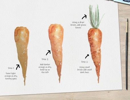 Carrot Step by Step Watercolor Tutorial .  Free tutorial with pictures on how to paint a piece of watercolor art in under 30 minutes by creating with watercolor paper, watercolor, and watercolour brush. Inspired by carrot. How To posted by Ladybug Watercolour.  in the Art section Difficulty: 3/5. Cost: Cheap. Steps: 3