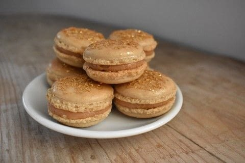 Make professional-looking, gorgeous caramel macarons .  Free tutorial with pictures on how to bake a macaron in 14 steps by baking with ground almonds, icing sugar, and egg whites. Recipe posted by Holly.  in the Recipes section Difficulty: Easy. Cost: No cost.