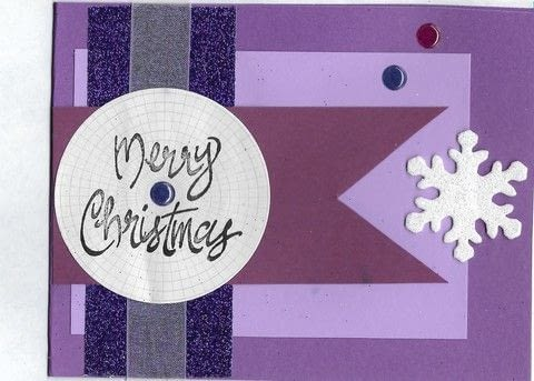 Christmas hand-made card .  Make a card in under 30 minutes by papercrafting, cardmaking, and stamping with embellishments, cardstock, and sheer ribbon. Creation posted by Becca S.  in the Papercraft section Difficulty: Easy. Cost: Cheap.