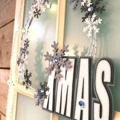 Christmas Wreath With Paper Snowflakes
