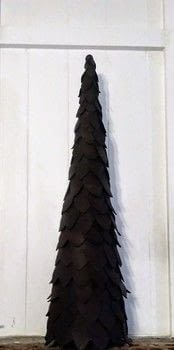 Christmas Is Coming! .  Free tutorial with pictures on how to make a christmas tree in under 60 minutes using paper mache cone, leather, and hot glue gun and glue sticks. Inspired by christmas. How To posted by Melissa Putnam.  in the Home + DIY section Difficulty: Simple. Cost: 3/5. Steps: 4