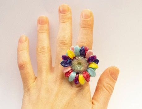 If rainbow flowers were real .  Make a ring in under 60 minutes using ring and nail polish. Creation posted by LollyLabbit.  in the Jewelry section Difficulty: Easy. Cost: No cost.
