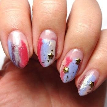 Abstract Nail Art .  Free tutorial with pictures on how to paint a nail painting in under 60 minutes using clear base coat, star studs, and clear top coat. How To posted by Lacquered Lawyer.  in the Beauty section Difficulty: Easy. Cost: Cheap. Steps: 4