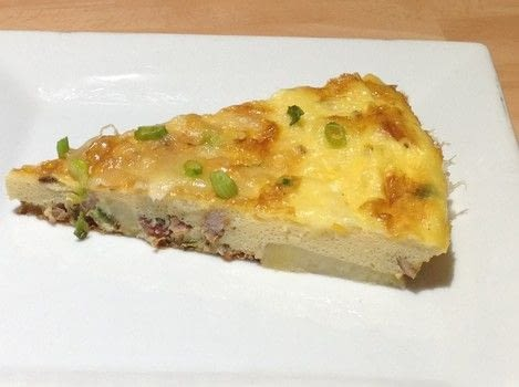 Bacon & potato Frittata  .  Free tutorial with pictures on how to cook an omelette in under 20 minutes by cooking with potatoes, bacon, and butter. Recipe posted by Super Madcow.  in the Recipes section Difficulty: Easy. Cost: Cheap. Steps: 4
