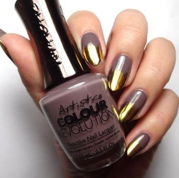 Taupe and Gold Chrome Nails .  Free tutorial with pictures on how to paint a nail painting in under 60 minutes using taupe nail polish, gold chrome powder, and uv/led lamp. How To posted by Lacquered Lawyer.  in the Beauty section Difficulty: Easy. Cost: Cheap. Steps: 4
