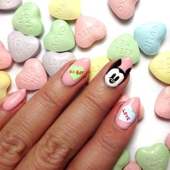 Disney Valentine's Day Mani .  Free tutorial with pictures on how to paint seasonal nail art in under 60 minutes using nail art brush, pink nail polish, and acrylic paint - green, blue, red, white and black. How To posted by Lacquered Lawyer.  in the Beauty section Difficulty: 3/5. Cost: Cheap. Steps: 3