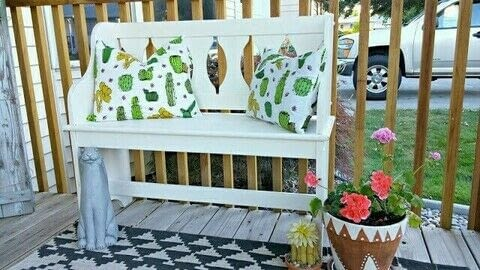 The most adorable outdoor pillows! .  Free tutorial with pictures on how to make a decoration in under 60 minutes by decorating and sewing with table cloth, pillow inserts, and thread. How To posted by Tania P.  in the Sewing section Difficulty: Simple. Cost: Cheap. Steps: 12