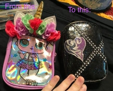Oversized backpack Keychain; now a pencil case! .  Make a craft organizers by creating, drawing, constructing, decorating, embellishing, and not sewing with duct tape, washi tape, and hair tie. Inspired by disney, gothic, and punk. Creation posted by Kinhime Dragon.  in the Other section Difficulty: 3/5. Cost: Cheap.