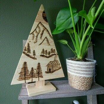 Pyrography mountain landscape on wood .  Free tutorial with pictures on how to make a decoration in under 60 minutes How To posted by Vaessen Creative.  in the Home + DIY section Difficulty: Simple. Cost: Cheap. Steps: 10