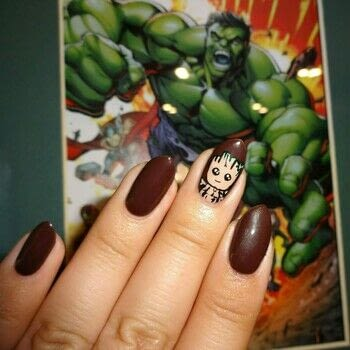 I Am Groot .  Free tutorial with pictures on how to paint a character nail in under 60 minutes using nail art brush, brown nail polish, and acrylic paints - brown, white, black, green. How To posted by Lacquered Lawyer.  in the Beauty section Difficulty: 3/5. Cost: Cheap. Steps: 6