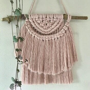 Macramé for the Modern Home .  Free tutorial with pictures on how to make a yarn wall hanging in under 40 minutes by knotting with measuring tape, masking tape, and scissors. How To posted by Search Press.  in the Yarncraft section Difficulty: Easy. Cost: Cheap. Steps: 17