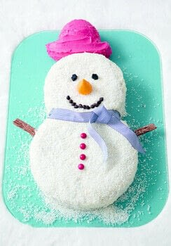 This is the perfect cake for a Christmas party, as it will feed a good crowd of hungry mouths.  .  Free tutorial with pictures on how to decorate a character cake in under 120 minutes by cooking, baking, and decorating food with cake tin, chocolate, and food coloring. Inspired by christmas, snowmen, and snowman. Recipe posted by Ryland Peters & Small. Difficulty: Simple. Cost: Cheap. Steps: 11