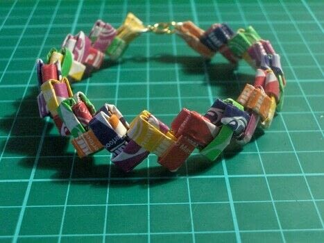Recycle your old sweetie wrappers in to a cute bracelet. .  Free tutorial with pictures on how to weave a candy wrapper bracelet in under 50 minutes by jewelrymaking and paper folding with wrapper(s), jump rings, and jewelry clasp. Inspired by for girls and for girlfriends. How To posted by Cat Morley. Difficulty: Easy. Cost: Absolutley free. Steps: 16