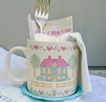 Gift baskets made with vintage mugs and mug cake mix .  Free tutorial with pictures on how to bake a cake in under 60 minutes using coffee mug, cake mix, and cake mix. Recipe posted by Tania P.  in the Recipes section Difficulty: Easy. Cost: Cheap. Steps: 3