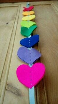 A beautiful rainbow of hearts to cheer your heart!  .  Free tutorial with pictures on how to make a hanging garland in under 60 minutes by needleworking with ribbon, sewing needle, and felt. Inspired by hearts and rainbow. How To posted by Delicate Stitches.  in the Needlework section Difficulty: Easy. Cost: Cheap. Steps: 8