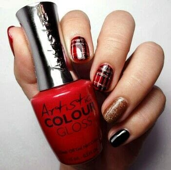 Bold and Glam .  Free tutorial with pictures on how to paint a nail painting in under 60 minutes using red gel polish, copper shimmer gel polish, and black gel polish. How To posted by Lacquered Lawyer.  in the Beauty section Difficulty: Simple. Cost: Cheap. Steps: 5