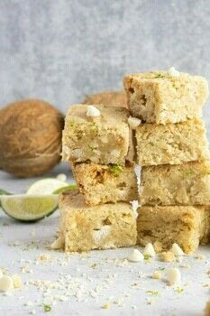 Made with lime juice, coconut, macadamia nuts, white chocolate, and brown sugar, these blondies are filled with tropical flavor. .  Free tutorial with pictures on how to bake a brownie in under 60 minutes by baking with sugar, brown sugar, and salt. Inspired by cookies, lime, and blondie. Recipe posted by Tiffany L.  in the Recipes section Difficulty: Easy. Cost: 3/5. Steps: 4