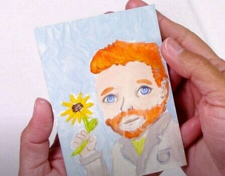 Van Gogh Portrait Tutorial with Acrylic - MINIATURE fun painting .  Free tutorial with pictures on how to create a portrait in under 60 minutes by creating with acrylic paint. How To posted by ilove2paint.  in the Art section Difficulty: Simple. Cost: Cheap. Steps: 1