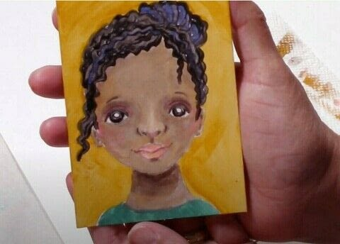 Painting dark skin tones with acrylics | how to paint a cute face by AyalaArt .  Free tutorial with pictures on how to create a portrait in under 60 minutes by creating with acrylic paint. How To posted by ilove2paint.  in the Art section Difficulty: Simple. Cost: Cheap. Steps: 1