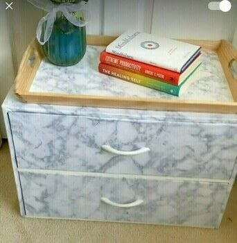 DIY Marble Night Table .  Free tutorial with pictures on how to make a bedside table in under 25 minutes by decorating Inspired by bedroom. How To posted by Adele A.  in the Decorating section Difficulty: 3/5. Cost: No cost. Steps: 3