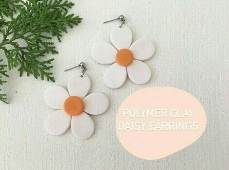 Cute as a Daisy!  .  Free tutorial with pictures on how to make a pair of clay earring in under 120 minutes by jewelrymaking with polymer clay, acrylic roller, and knife. Inspired by daisy. How To posted by The Little Craft House.  in the Jewelry section Difficulty: Simple. Cost: 3/5. Steps: 10