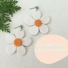 Polymer Clay Daisy Earrings