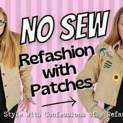 How To No Sew Refashion With Iron On Patches + Scissors
