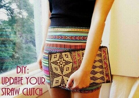 Easy No-Sew Method To Brighten Up An Ikat-Print Straw Clutch! .  Free tutorial with pictures on how to make a recycled clutch in under 40 minutes by decorating and not sewing with clutch, hemming tape, and trimmings. Inspired by clothes & accessories. How To posted by Cinnamon S. Difficulty: Simple. Cost: Cheap. Steps: 9