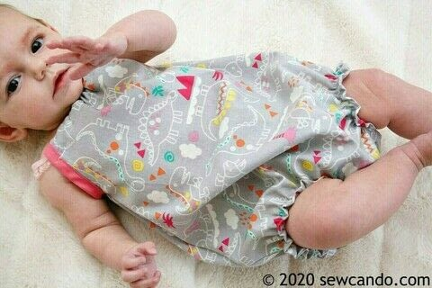 Make a cute bubble romper in ANY baby or small child size! .  Free tutorial with pictures on how to sew a romper in under 90 minutes using cotton fabric, elastic, and elastic. How To posted by Cheryl@Sew Can Do.  in the Needlework section Difficulty: Simple. Cost: Cheap. Steps: 18