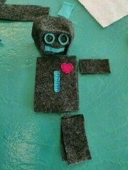 Felted, stuffed, robot toy .  Make a plushie toy in under 120 minutes using felt, stuffing, and embroidery thread. Creation posted by Rhianna S.  in the Sewing section Difficulty: Easy. Cost: Absolutley free.