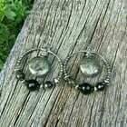 Pyrite & Black Obsidian Hoop Earrings