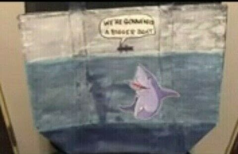 """Dollar Store Tote Bag Painted in the them of """"JAWS"""" for Cheap ($2) .  Make a fashion accessory in under 120 minutes by decorating with magazine, tote bag, and acrylic paint. Creation posted by KMOM14.  in the Decorating section Difficulty: Simple. Cost: Absolutley free."""