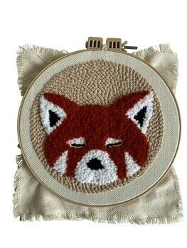 Punch Needle Friends .  Free tutorial with pictures on how to make a piece of textile art in under 120 minutes by needleworking and needlepointing with cloth, embroidery hoop, and template. Inspired by pandas. How To posted by Search Press.  in the Needlework section Difficulty: Simple. Cost: Cheap. Steps: 13