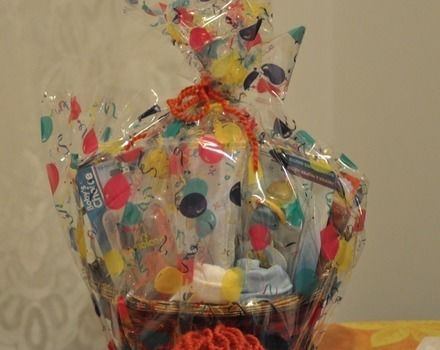 For a friend .  Make a gift basket in under 10 minutes by decorating with yarn, t shirt, and basket. Creation posted by michelle G. . Difficulty: Easy. Cost: Cheap.