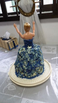 Be a queen, not a drag! .  Decorate a doll cake in under 120 minutes by constructing and molding with sugar, cake, and chocolate. Inspired by barbie, barbie, and people. Creation posted by Serene T. Difficulty: 4/5. Cost: 4/5.