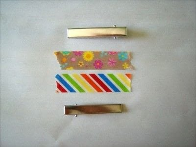 How to make an embellished hair clip. Washi Tape Barrettes - Step 1