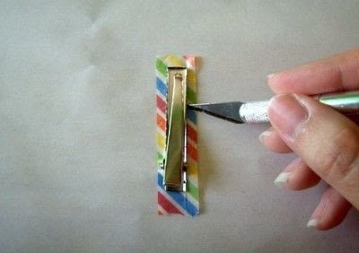 How to make an embellished hair clip. Washi Tape Barrettes - Step 2