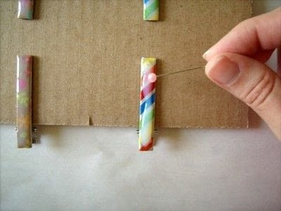 How to make an embellished hair clip. Washi Tape Barrettes - Step 7