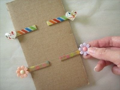 How to make an embellished hair clip. Washi Tape Barrettes - Step 9