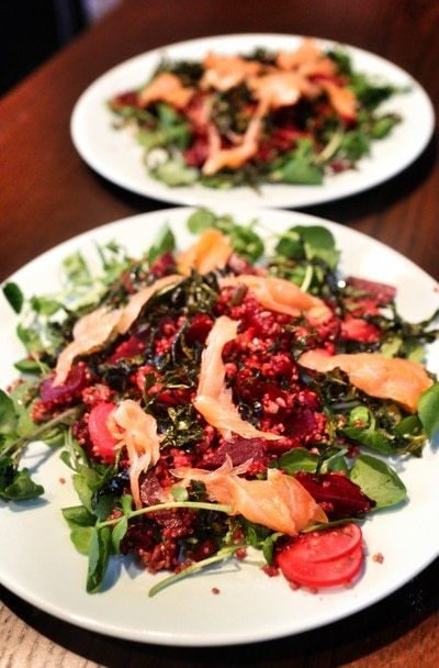 How to cook a quinoa salad. Salmon & Beetroot Quinoa Salad - Step 5