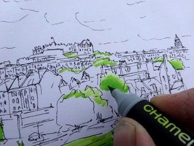 How to paint a landscape. Landscape Drawing - Step 2