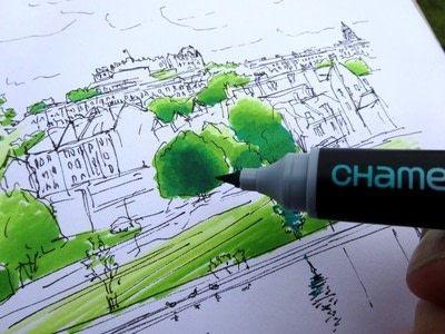 How to paint a landscape. Landscape Drawing - Step 3