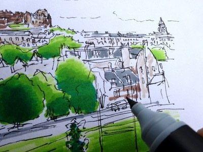 How to paint a landscape. Landscape Drawing - Step 4