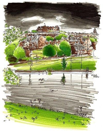 How to paint a landscape. Landscape Drawing - Step 5