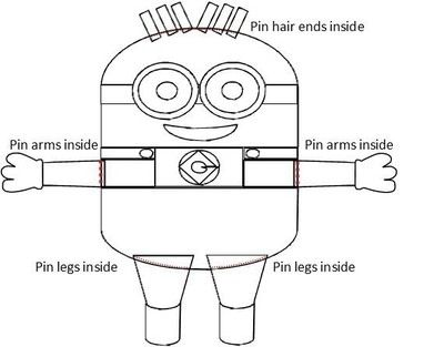 How to sew a movie plushie. Large Minion Plushie - Step 20