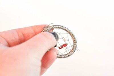 How to make a dream catcher pendant. Wire Dream Catcher Necklace - Step 15