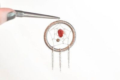 How to make a dream catcher pendant. Wire Dream Catcher Necklace - Step 16