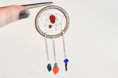 How to make a dream catcher pendant. Wire Dream Catcher Necklace - Step 21